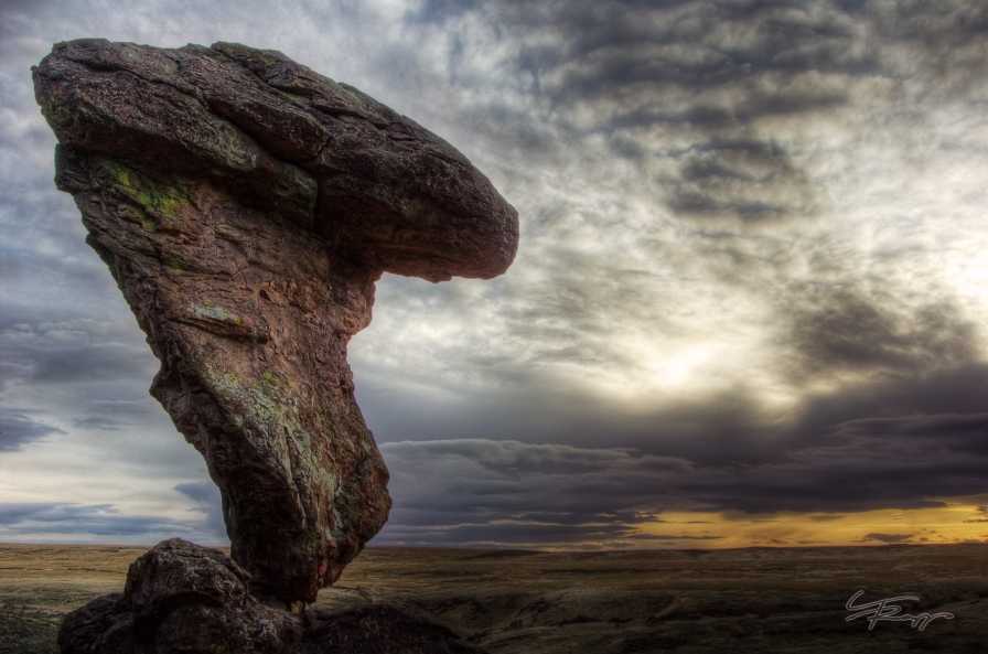A sunset by Balance Rock, central Idaho.