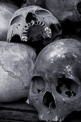 Skulls on display in the Tuol Sleng Genocide Museum testify to the atrocities committed by the Khmer Rouges' occupation of Cambodia.