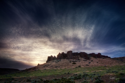 Sunset over buttes, central Idaho.