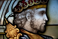 Close-up of stained-glass window, Spain.