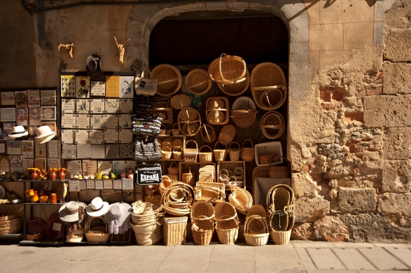 A vendor's wares on display, Spain.
